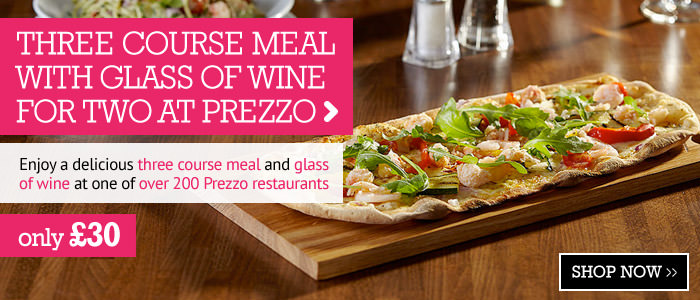 Three Course Meal and Glass of Wine for Two at Prezzo only £30
