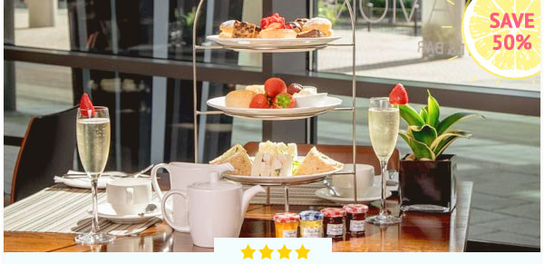 2 For 1 Sparkling Cocktail Afternoon Tea at Hilton London Canary Wharf - £68, Now £34