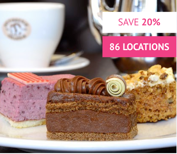 Afternoon Tea for Two at Patisserie Valerie with Cake Gift Box - Was £35 With code £28