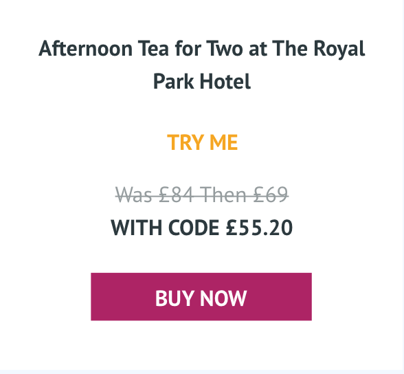Afternoon Tea for Two at The Royal Park Hotel - Was £94 With code £55.20