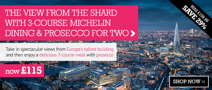 The View from The Shard with 3-course Michelin Dining and Prosecco for Two only £115